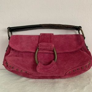 Francesco Biasia cranberry/pink suede hobo bag